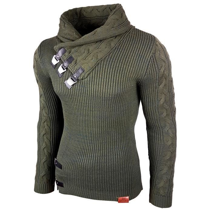 825aaa84ead Subliminal Mode - Pull homme col chale avec bouton pression - Tricot grosse  maille - Col chale