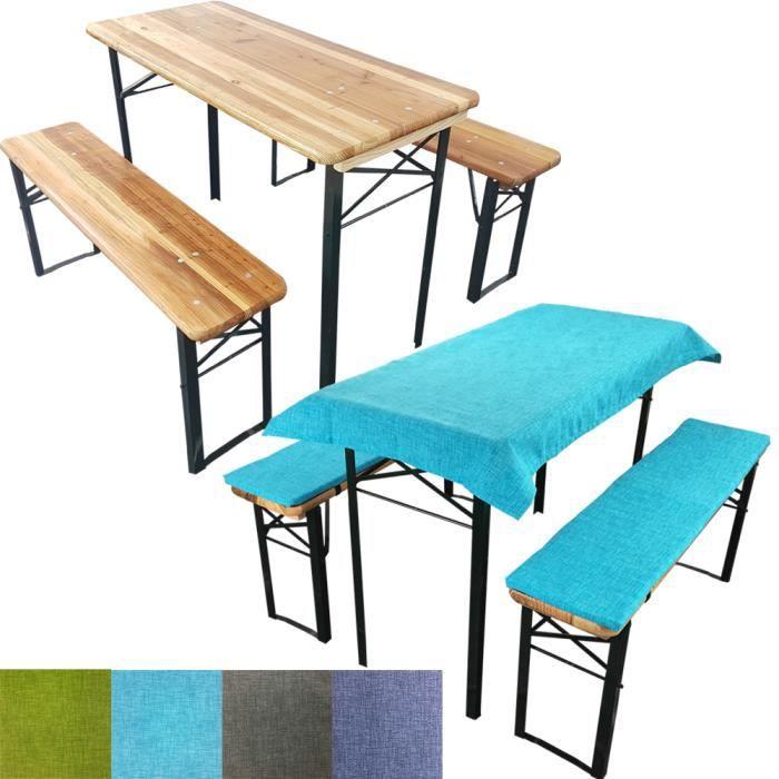 SET : 1 Table de brasserie 177x45x76 cm + 2 Bancs 177x25x46 cm + ...