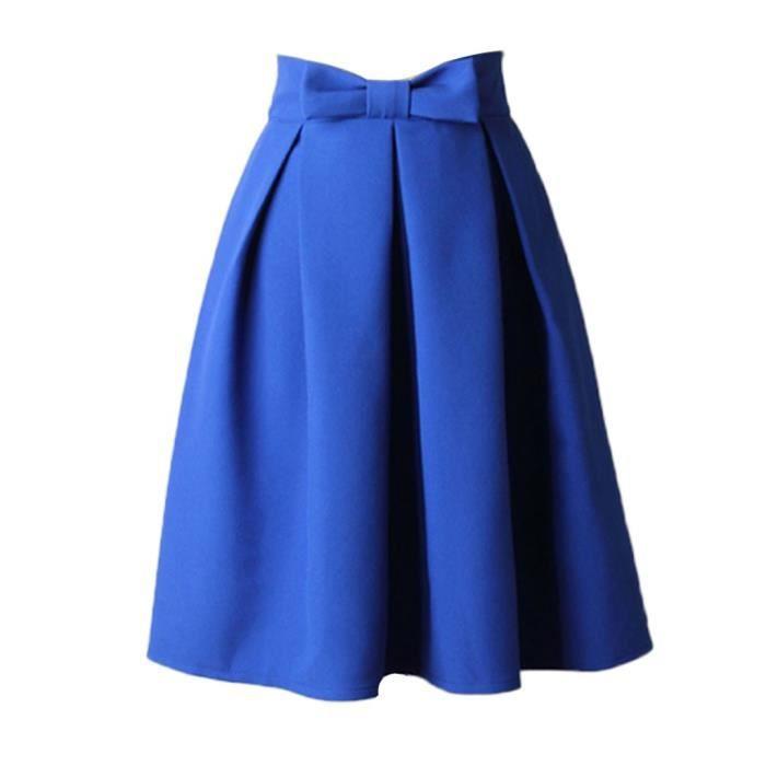 Plissée longue Longueur Vintage bleu Mi Femmes Haute Genou Robe Taille Bow awAqW