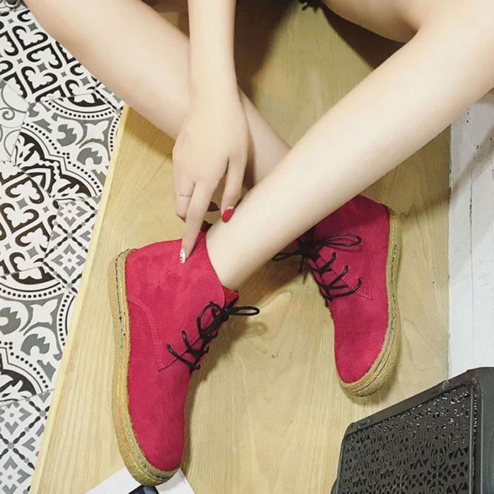 Women Ladies Soft Flat Ankle Martin Chaussures Femme Bottes en dentelle en cuir de daim A2