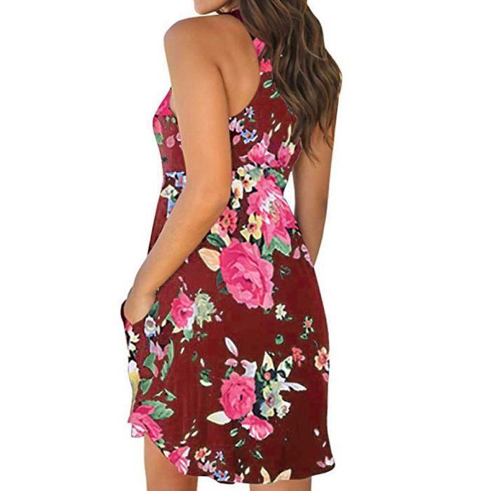 Avec Cou rouge Mini Femmes Poches Ronde Courte Florale Impression Manches Casual Robe 0wPz1q5