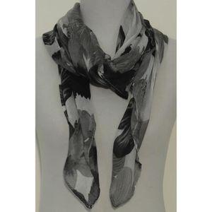 bd8664be2e85 Foulard femme imprimé fleurs Noir gris et blanc Noir - Achat   Vente ...