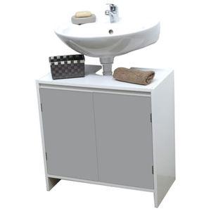 Meuble sous lavabo gris achat vente meuble sous lavabo for Meuble sous lavabo une porte