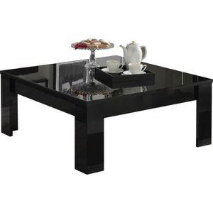 TABLE BASSE Table basse carrée coloris noir laqué brillant