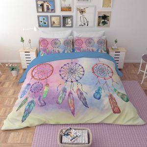 HOUSSE DE COUETTE SEULE Parure de lit attrape rêves 3D effet 160*210cm 3 p