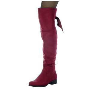 0b5624aa6b3a4 Angkorly - Chaussure Mode Cuissarde cavalier souple femme Lacet ruban satin Talon  haut bloc 3.5 CM - Intérieur Fourrée - Bordeaux - Rouge Bordeaux - Achat ...