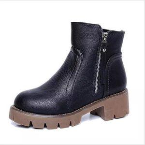 Bottines Femmes Automne Hiver talon épais en cuir bottes BGD-XZ019Marron35 SIQ1XkJAP