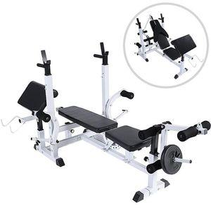 BANC DE MUSCULATION Banc de Musculation Multifonction 4 Poids Disques