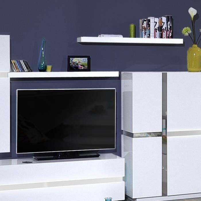 105x22x5 cm - En panneaux de particules - Blanc - Fabrication 100% françaiseETAGERE MURALE - ECHELLE ETAGERE