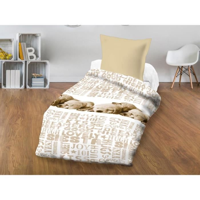 140x200cm - Microfibre 100% polyester - Garnissage 100% polyester - Taupe - Lit 1 placeCOUETTE