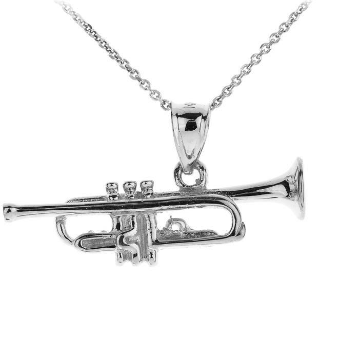 Collier Pendentif Femmes 10 ct Or Blanc 3D Trompette Musique(Livré avec une 45cm Chaîne)
