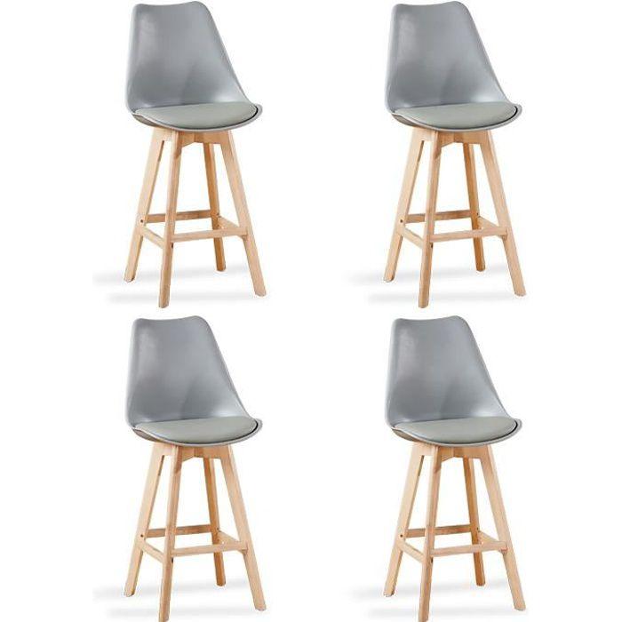 Lot de 4 chaises hautes grises - Gotteborg - Achat   Vente tabouret ... a77814916515