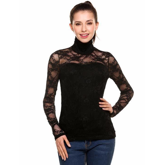 f9074737d30cf Tops blouse femmes dentelle Slim Casual col roulé manches longues ...