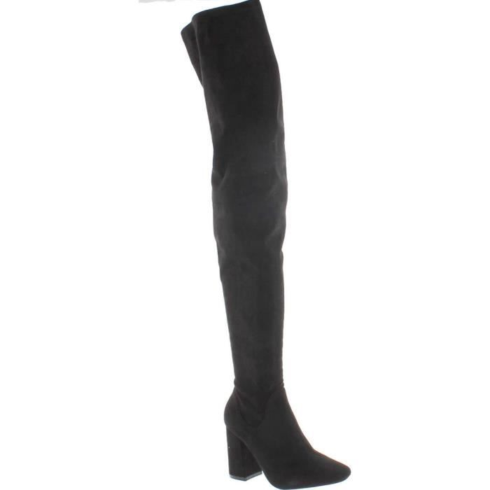 Betisa-4 Side Zip Block Heel Stretchy Snug Fit Thigh High Boots NBL4I Taille-38 1-2