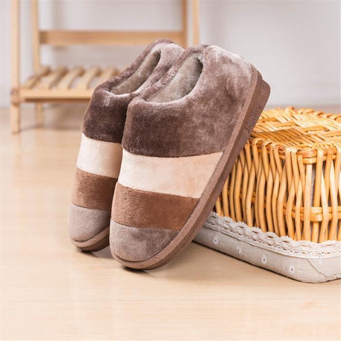 Rainbow Chaussons Mode Haut qualité Cachemire Chaussure Garde Au Chaud Hiver Homme Coton Chaussons marron Grande Taille 41-45