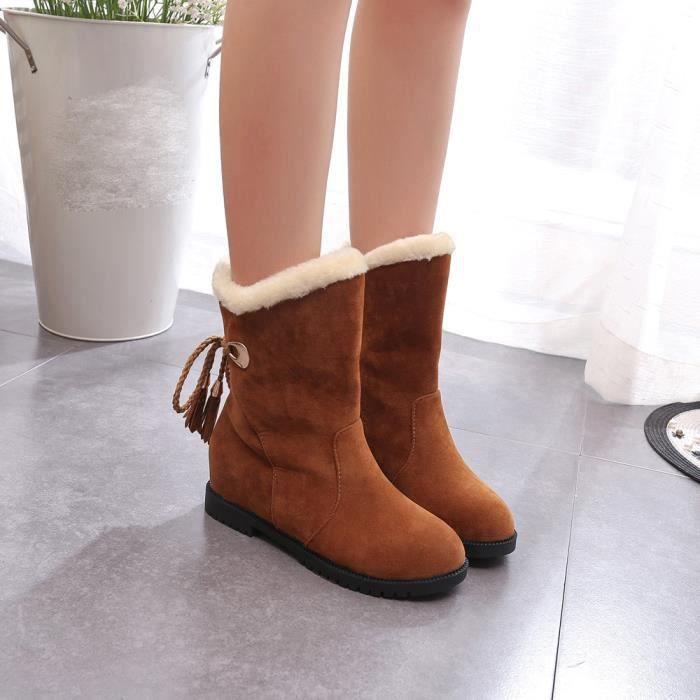e991577fa3c1 Zareste Mode Neige D hiver Femme Jaune Talons De bottes Chaussures Bottines  Bottes FEwqzFr