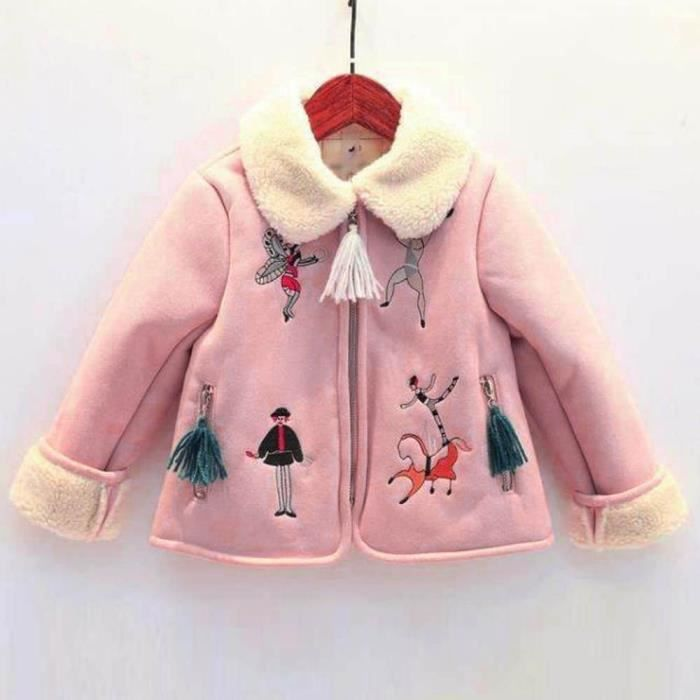 Tout-petits enfants bébé fille vêtements chauds Manteau d impression ... 2db48d18a649