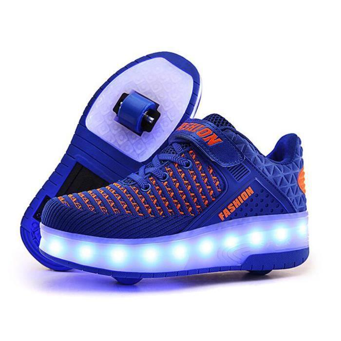 Style Roues Chaussures Lumière Usb Charge Sneakers Double À Nouveau Roulettes Basket Garçons Led Enfant n0O8Pkw