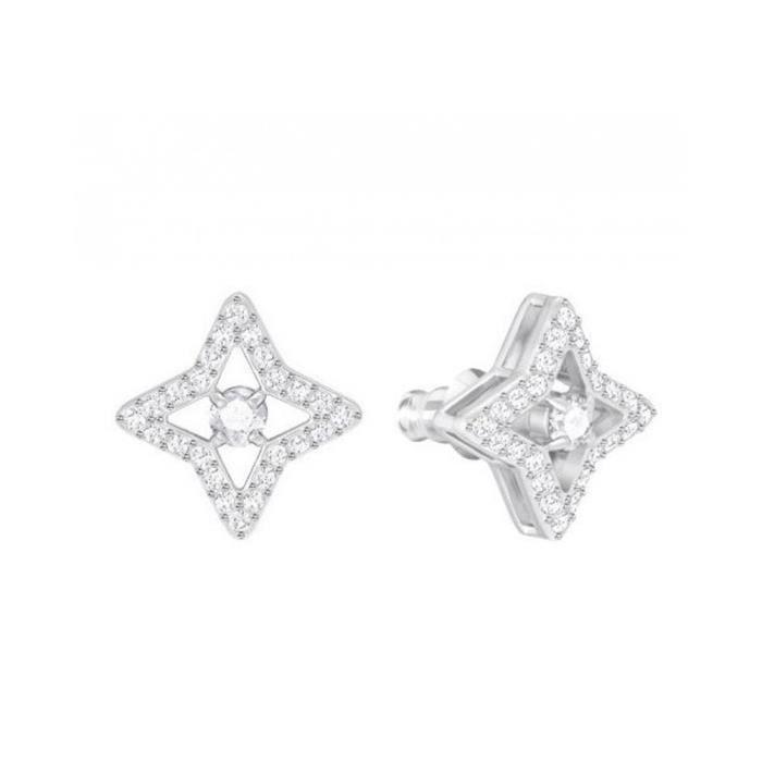 Boucles doreilles Swarovski clous Sparkling Dance Star Blanc Métal rhodié