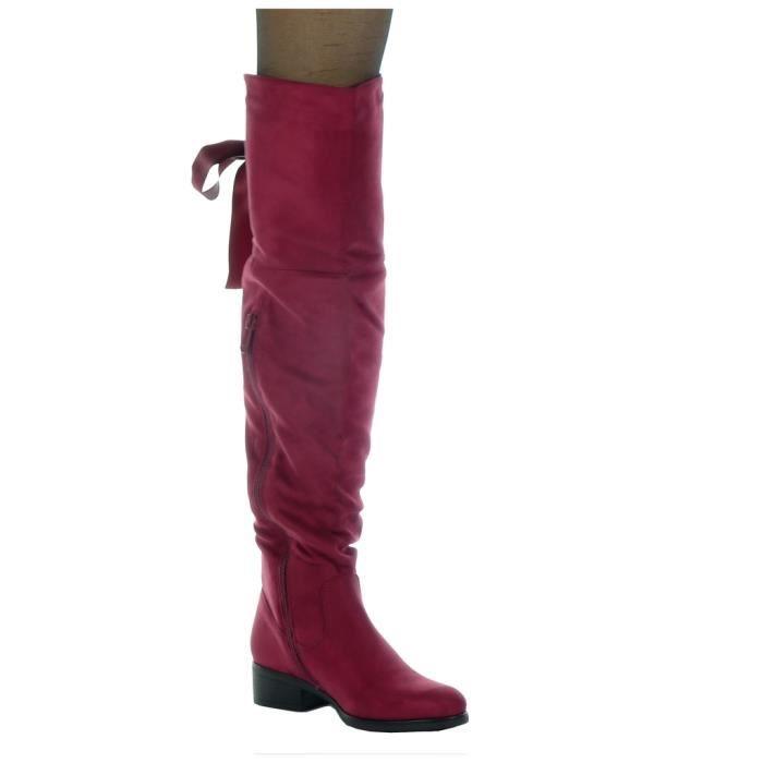 Angkorly - Chaussure Mode Cuissarde cavalier souple femme Lacet ruban satin Talon haut bloc 3.5 CM - Intérieur Fourrée - Bordeaux -