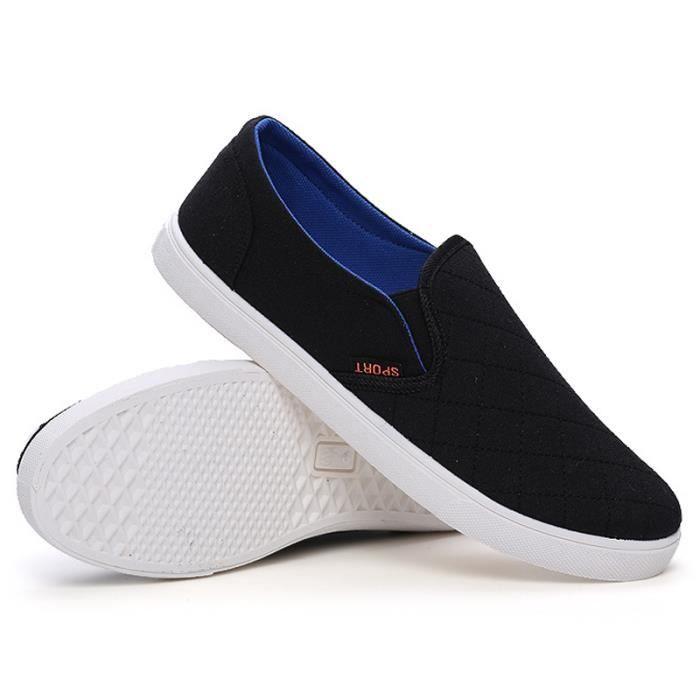 Chaussures En Toile Hommes Basses Quatre Saisons Durable BJ-XZ114Noir44 DdeCY