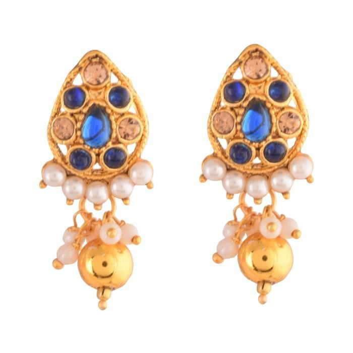 Womens Traditional Temple Design Blue Gold Plated Pendant Necklace Set For & (10599) 10599 L31F0