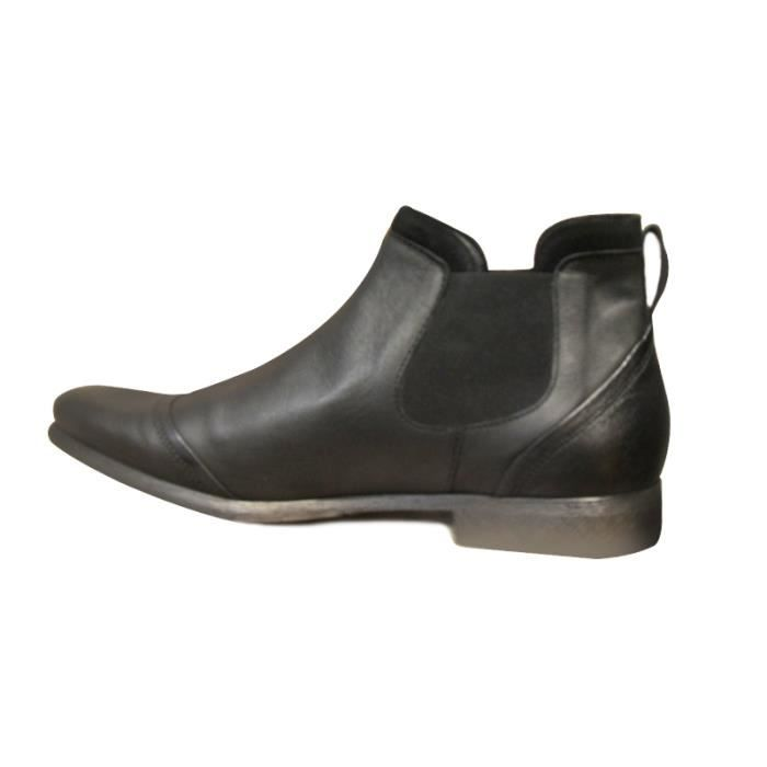 Boots - low boots cuir homme HEXAGONE noirs moderne