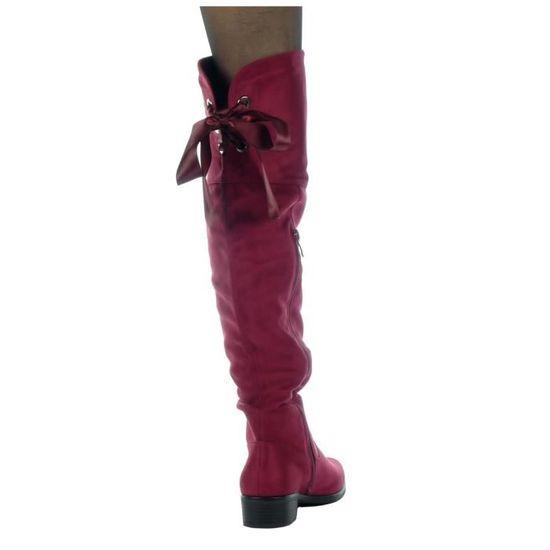 Angkorly - Chaussure Mode Cuissarde cavalier souple femme Lacet ruban satin Talon haut bloc 3.5 CM - Intérieur Fourrée - Bordeaux - lqhAkHJba