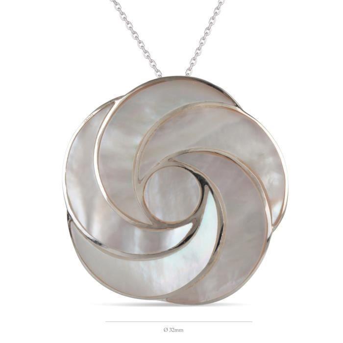 Pendentif-Argent 925 K-Femme-Nacre-Blanc-fleur en spirale -Dimension diamètre 32m