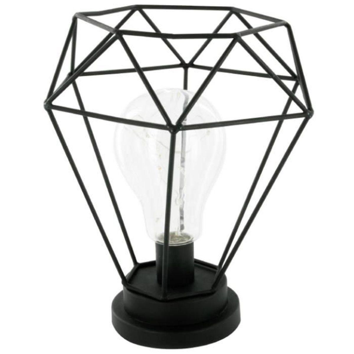 lampe poser en m tal coloris noir dim h 22 x l 19 5. Black Bedroom Furniture Sets. Home Design Ideas