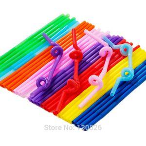 PAILLE 500pcs / lot en plastique flexible Couleurs mélang