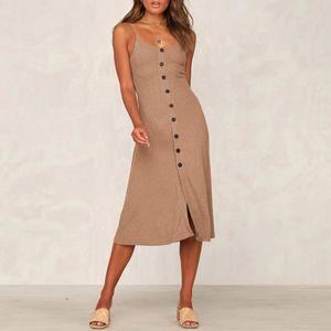 Femmes d'été Bouton manches Casual longueur au genou robe de soirée Robe marron
