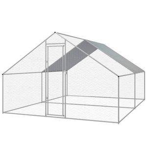 POULAILLER Cage extérieure pour poulets Acier galvanisé 3 x 4