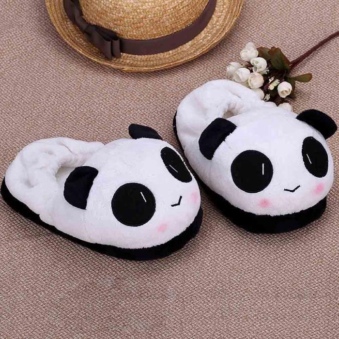 26cm Panda pantoufle chausson hiver chaud doux