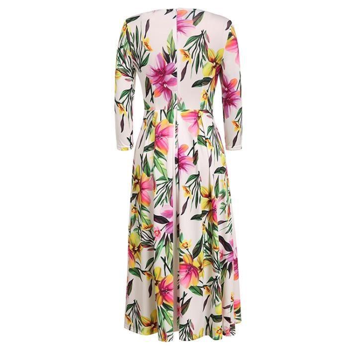 Robe longue femmes floral vintage plissé à 3-4 manche