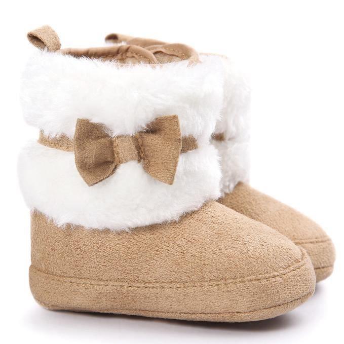 Bébé bowknot garder chaud semelle douce bottes de neige Doux berceau chaussures tout-petits bottes kaki
