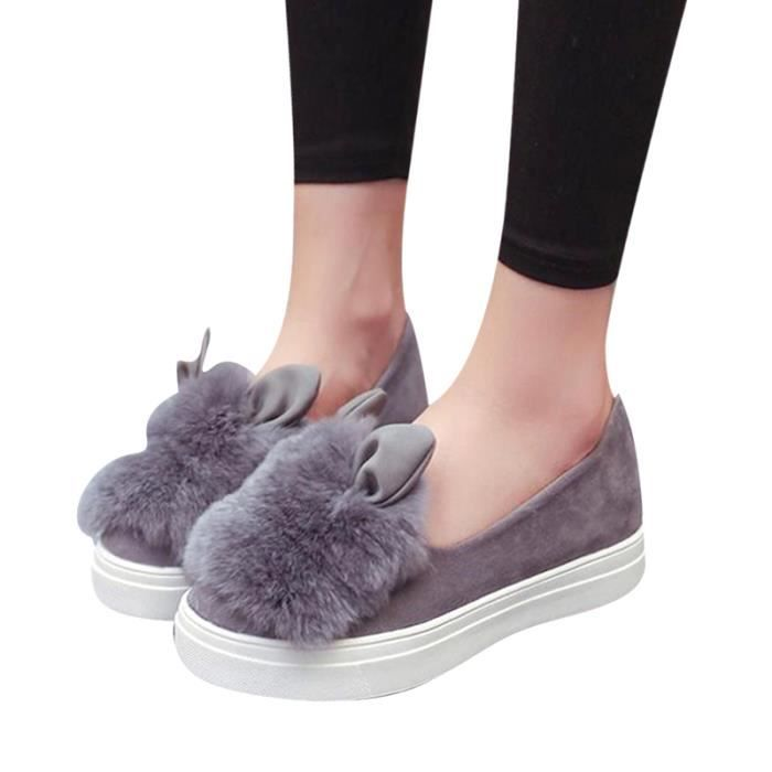 Chaussures Femmes Hiver plate Chaussures DTG-XZ060Gris39