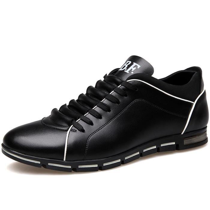 Chaussures de sport mode pour les hommes, Classique Low Top Flats lacent travail en cuir Chaussures Casual CIEO3 Taille-44 1-2