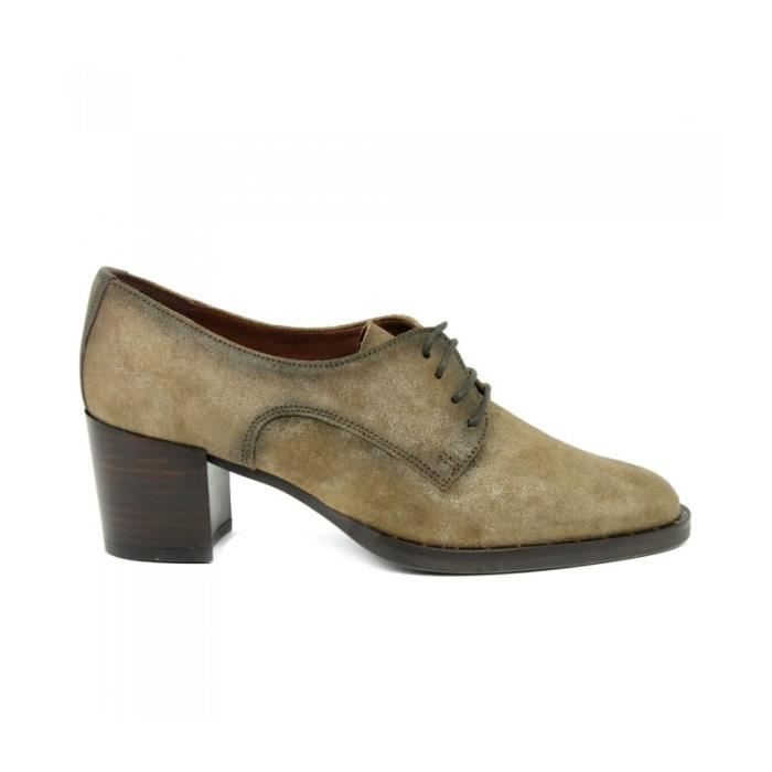 Hispanitas Derby - Lacets Crampons Suede Taupe Taille Trente-neuf Femme Ref. 1853_18235