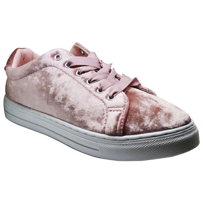 Reba-161c Womens Velvet Round Toe Lace Up Sneaker Khaki Crush Velvet Size 10 GJ9C3 Taille-38