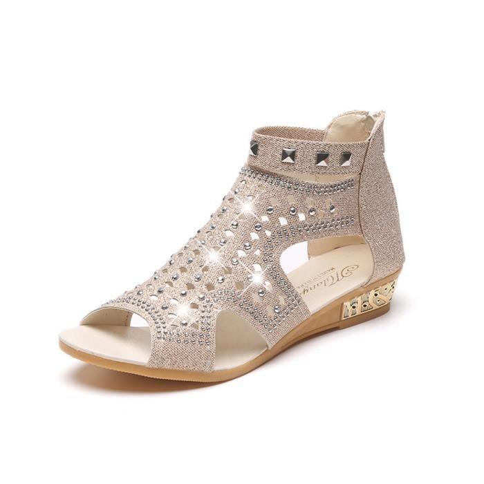 De Creux Compensées Beige37 Bouche Sandales D'été Poisson ChaussuresFemmes w0X8OnPk