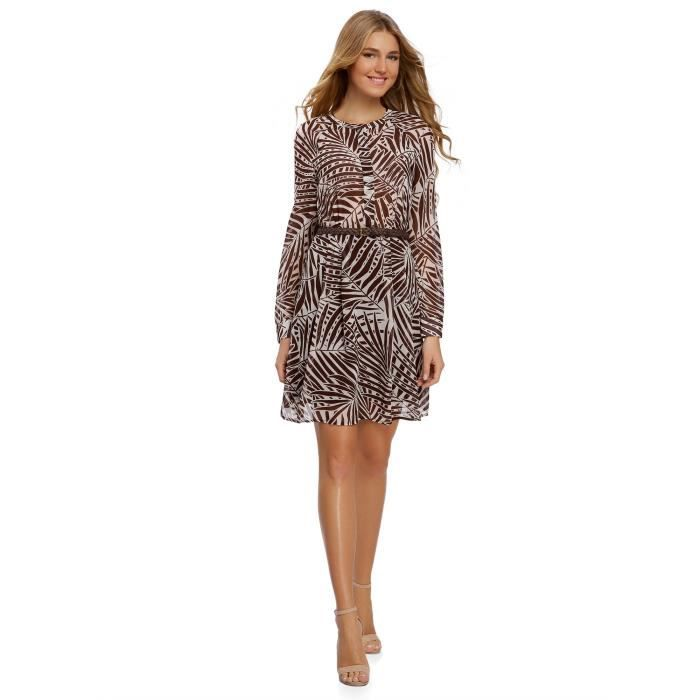 Robe de mousseline imprimée des femmes 2OQ5IN Taille-34 Marron ... 77cae6388264