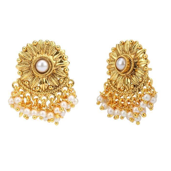 Blanc mariée Femmes en alliage de cuivre Ensemble de bijoux avec collier et boucles doreilles pour dames WK42T