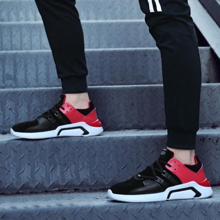 Skateshoes Homme Korean Simple Solf en cuir cool été - automne Sneakers Casual noir-rouge taille39