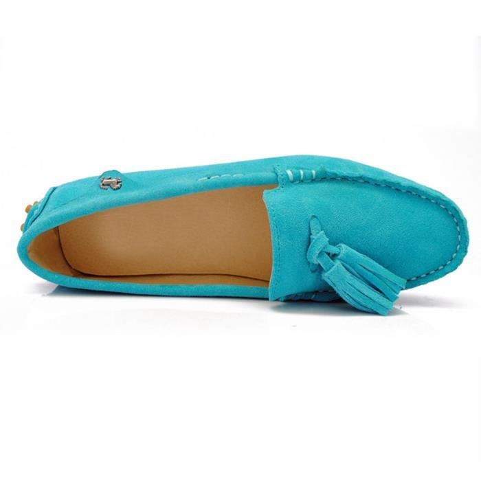 Girls Womens Slip-on Suede Leather Casual Tassels Loafers Flats Driving Shoes ZMW0J Taille-36 KTFX3fMgCh