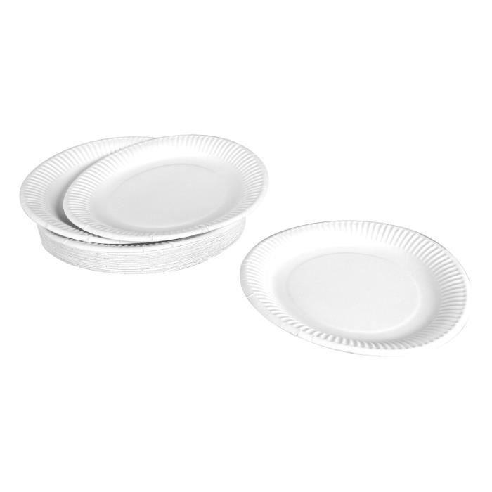 Lot de 50 assiettes en carton jetables diamètre 23 cm blanc