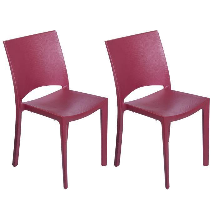 GREEN BOHEME lot de 2 chaises de jardin Cocco - En Polypropylène - Rouge bordeaux