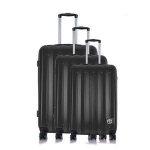 LES P'TITES BOMBES Set de 3 Valises Rigide Polycarbonate 4 Roues 50-60-70 cm ALISON Black