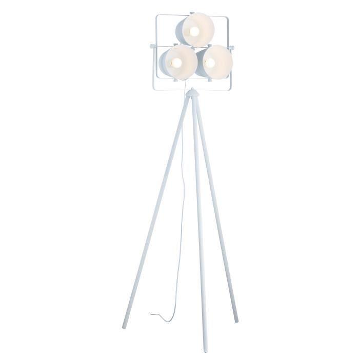 Lampadaire trépied en métal avec 3 projecteurs 60x60x150 cm E27 40 W blanc