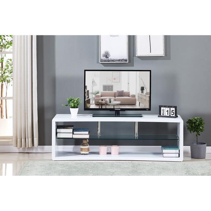 MATHIS Meuble TV incurvé en bois laqué blanc - Etagére en verre - L 140 x P 40 x H 45 cm